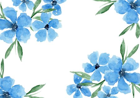 Delicate watercolor blue floral background. Colorful painting daisy flowers horizontal frame composition with tender poppies blossoms for invitation, wedding or greeting cards design, banner decor