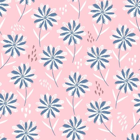 Tender pastel pink sketchy floral seamless pattern with blue and white flowers, hearts and dots. Cute scandinavian texture with gerbera for textile, wrapping paper, surface, wallpaper, background Foto de archivo