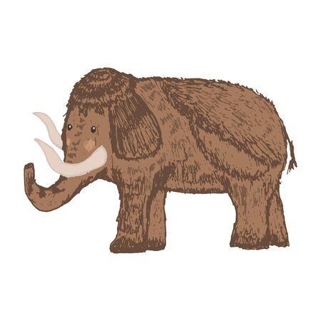 Cute vector hand drawn sketch of brown wild mammoth. Illustration of ancient elephant animal for kids print design, logo, sticker