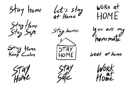 Collection of simple doodle black vector stay and work at home hand drawn lettering. Set of quarantine precautions to be safe from Coronavirus for banner, poster, flyer, greeting card, print design Vectores