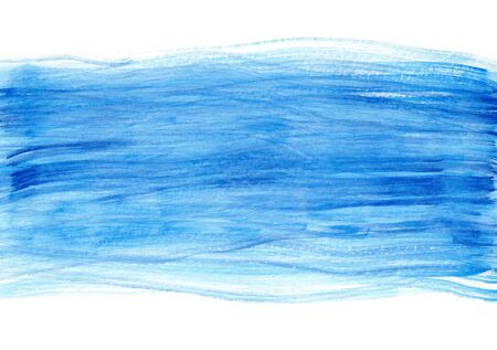 Bright textured blue striped cloudscape or water wet and dry watercolor background. Abstract horizontal clean sky or wavy ocean watercolour texture concept illustration Foto de archivo