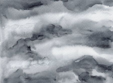 Dramatic dark and light gray abstract cloudscape wet watercolor background, wash technique. Textured monochrome stormy sky or deep water watercolour concept illustration