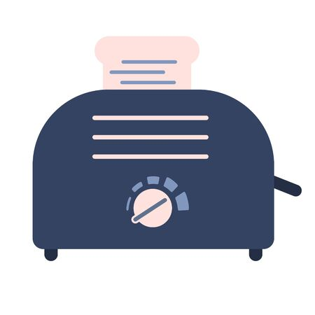 Flat electric toaster icon, sandwich equipment. Cute blue and pink vector kitchen appliance, bread baker with buttons for fast food eating logo design, recipe decoration