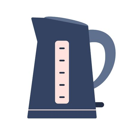 Flat electric kettle icon, kitchen appliance. Cute blue and pink vector automatic teapot equipment for logo design, recipe decoration, sticker