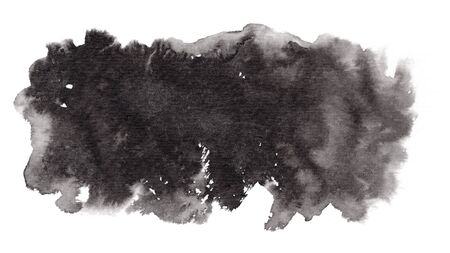 Abstract expressive horizontal textured black ink or watercolor stain. Monochrome gradient dynamic isolated inky blob, dark thunderous cloud concept for texture, black friday banner design, background