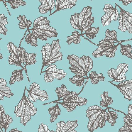 Tender blue floral seamless pattern with hand drawn textured columbine leaves. Delicate teal aquilegia leaf botanical texture for textile design, wrapping paper, surface, wallpaper, background Vectores