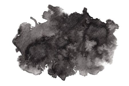 Textured expressive horizontal black ink or watercolor stain. Abstract monochrome gradient dynamic isolated inky blob, dark thunderous cloud concept for texture, black friday banner design, background Foto de archivo