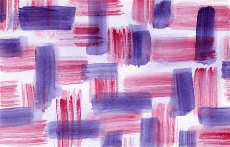 Bright abstract textured pink and purple striped watercolor background. Geometric grunge horizontal watercolour texture illustration for banner, cover, wrapping paper, textile, surface design Foto de archivo