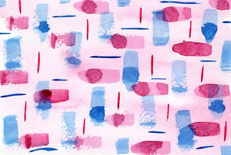 Bright abstract textured blue and pink stripes and blobs watercolor background. Tender geometric horizontal watercolour texture for banner, cover, wrapping paper, textile, surface design Foto de archivo
