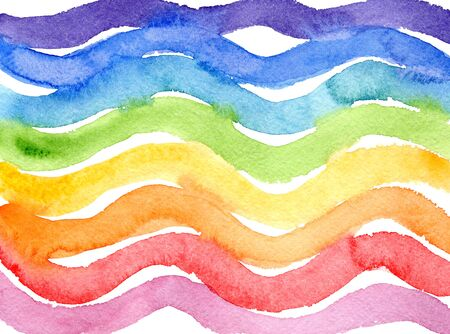 Bright horizontal wavy rainbow colors watercolor lines background. Abstract colorful geometric watercolour texture for banner, cover, wrapping paper, textile, surface design