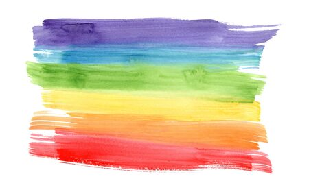 Bright horizontal rainbow colors watercolor lines background. Colorful striped gradient flag frame for lgbt design, banner, poster, isolated on white background Foto de archivo