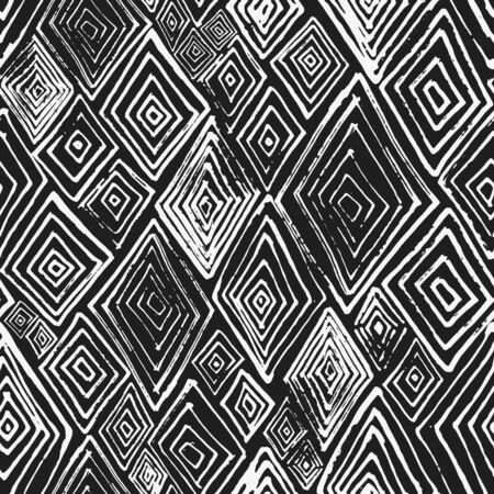 Abstract vector black and white textured hand drawn rhombus seamless pattern. Modern monochrome texture with unique rhomb shapes for textile design, wrapping paper, surface, wallpaper, background