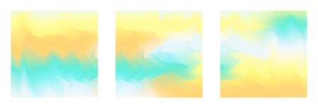 Abstract square light yellow, orange and green vibrant gradient colors summer backgrounds for fashion flyer, banner design. Set of soft, bright wallpaper for mobile apps, ui design, poster