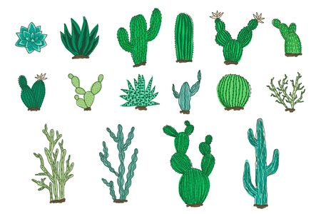 Collection of isolated outline colorful vector cactus and succulents elements. Cute bright green hand drawn textured doodle cacti illustrations for pattern design,  coloring book, decor