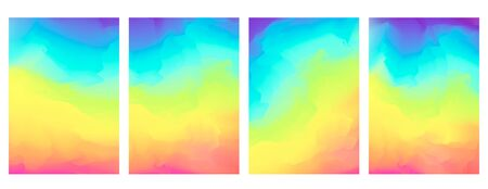 Bright vector vertical watercolor rainbow colors blurred background. Beautiful colorful abstract smooth nature landscape wallpaper in spectrum colors for web design,    concept decor Vectores