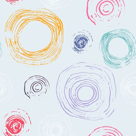 Abstract vector colorful textured hand drawn round shape seamless pattern. Modern pastel colors texture with unique messy circles for textile design, wrapping paper, surface, wallpaper, background