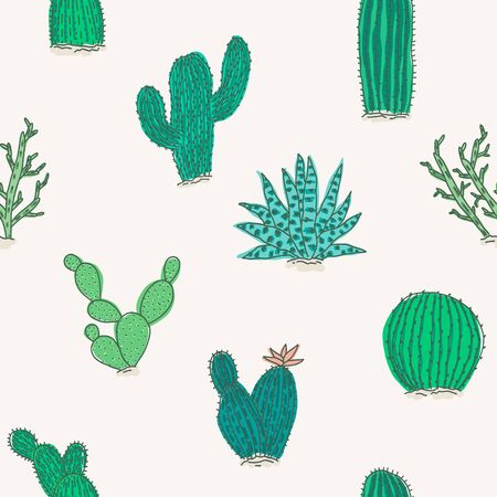 Cute seamless pattern with outline colorful green and teal vector cactus and succulents elements. Bright exotic doodle cacti texture for textile design, wrapping paper, surface, wallpaper, background