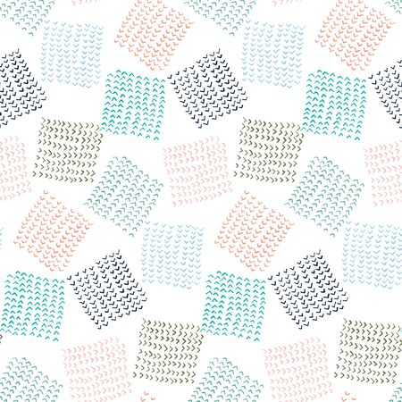 Cute abstract vector colorful angle points textured hand drawn chaotic square shape seamless pattern. Pastel colors texture for kids textile design, wrapping paper, surface, wallpaper, background