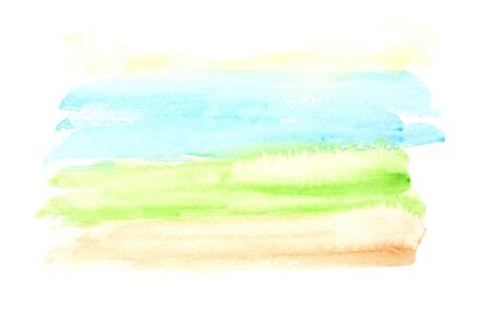 Light horizontal blue, green and yellow watercolor landscape background, wash technique. Abstract bright sunny sky and green meadow watercolour textured concept, nature illustration Foto de archivo