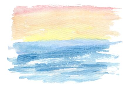Abstract horizontal gradient from blue to orange and red watercolor landscape background, wash technique. Bright sunrise coral sky and turquoise wavy water watercolour textured concept Foto de archivo