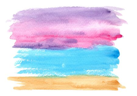 Bright horizontal brown, blue, purple and pink watercolor landscape background, wash technique. Abstract violet sky and turquoise water watercolour textured concept, marine nature illustration