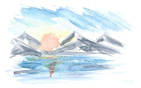Abstract horizontal watercolor sunrise marine landscape with mountains, water, sun and clouds. Bright watercolour nature textured concept, sunset background