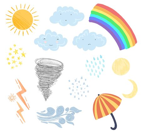 Set of cute textured cartoon weather elements in pastel colors. Collection of funny vector clouds, sun, wind and rainbow icons for kids books and apps, stickers, greeting cards and banners design Vectores