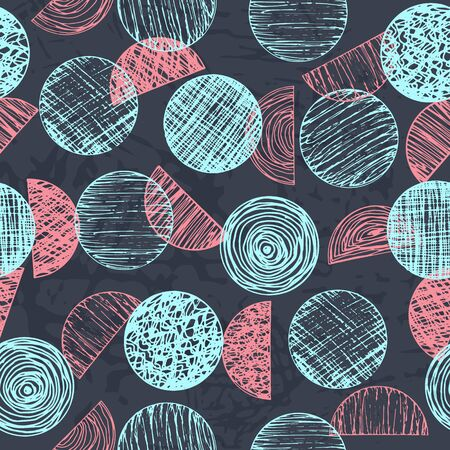 Cute abstract vector colorful textured hand drawn scribble round shapes seamless pattern. Modern circles and semicircles texture for kids textile design, wrapping paper, surface, wallpaper, background