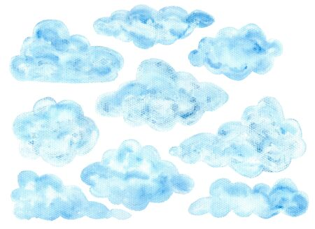 Cute colorful watercolor blue fluffy cloud elements. Hand painted watercolour textured clouds for kids print design, patterns, stickers, apps and books decoration Foto de archivo