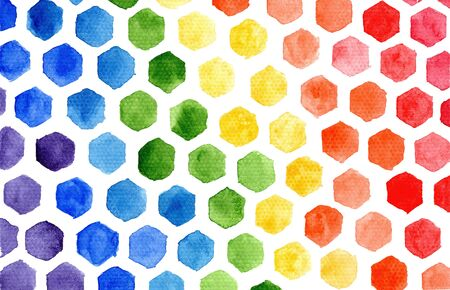 Bright horizontal rainbow colors watercolor small hexagons mosaic composition on white background. Abstract colorful tiny stains flag frame for lgbt design, banner, poster, home decor, print