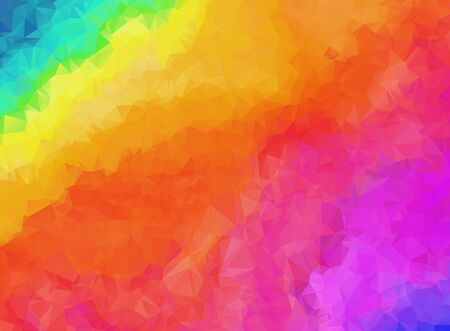 Bright rainbow colors abstract polygonal background. Contrast colorful geometric vibrant low poly triangle texture for software, ui design, web, apps wallpaper, banner Vectores