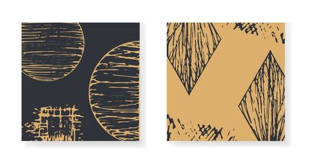 Set of elegant black and gold square greeting cards with round and rhombus textured elements. Backgrounds with abstract vector textured hand drawn scribble shapes for banner, poster
