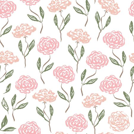 Tender vintage seamless pattern with scratched pink and coral roses with green leaves. Romantic retro ink flowers texture for textile, wrapping paper, surface, wallpaper, background, package Vectores