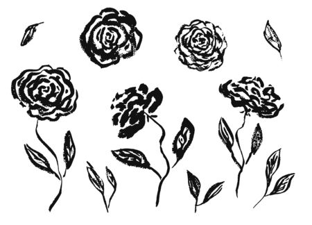 Set of hand drawn chinese black ink rose or peony flowers and leaves. Sketch vector inky floral blossoms and grass elements texture for pattern design, greeting card decoration
