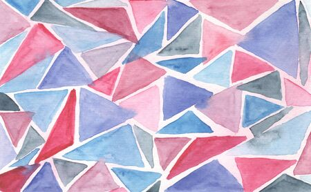 Pale abstract textured blue and pink triangular watercolor background. Geometric horizontal watercolour texture with triangle shapes for banner, cover, wrapping paper, textile, surface design