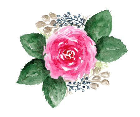 Bright watercolor pink rose with big green leaves and branches floral bouquet. Colorful painting flowers arrangement with tender blossoms for invitation, wedding greeting cards design, banner decor Foto de archivo
