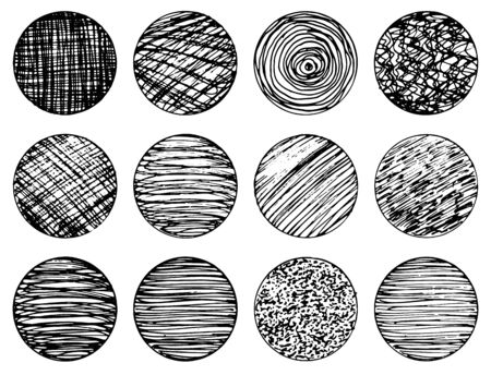 Set of isolated vector black grunge textured ink brush geometric circles. Dirty scratched hand drawn round shapes collection for graphic design, decoration