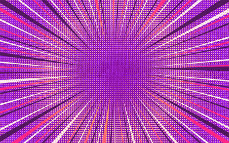 Bright pink and purple exploding retro comic background with rounded halftone shadow and circle of dark and light stipes. Cartoon magenta backdrop with texture for advertising design, poster, print