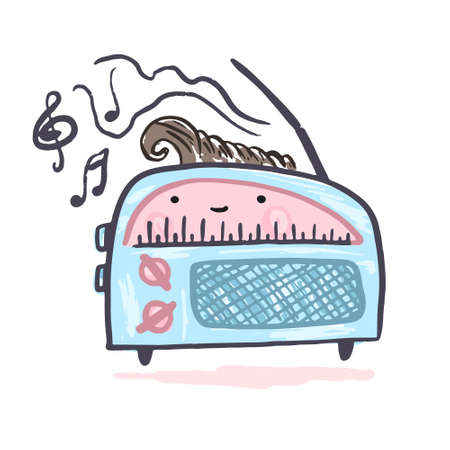 Cute kawaii vector blue and pink radio symbol. Cartoon vintage music player with eyes drawing in sketch style for kids print design, stickers, home decoration Vectores