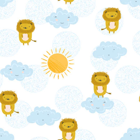 Cute summer seamless pattern with sketchy orange lions, colorful sun and kawaii clouds. Funny hand drawn childish sunny feline texture for kids design, wallpaper, textile, wrapping paper