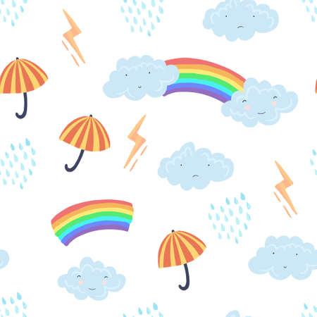 Cute light seamless pattern with textured cartoon weather elements. Funny vector clouds, umbrella, rain and rainbow texture for kids textile design, wrapping paper, surface, wallpaper, background