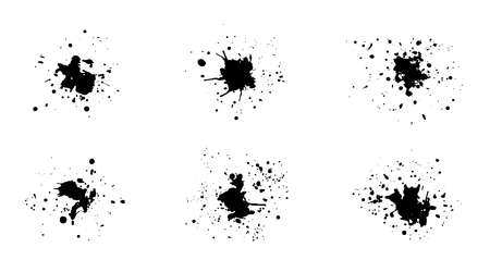 Set of black vector grunge ink splashes with drops. Collection of isolated unique textured inky blots for graphic design, social media stamps, shadows and dirty templates Vectores
