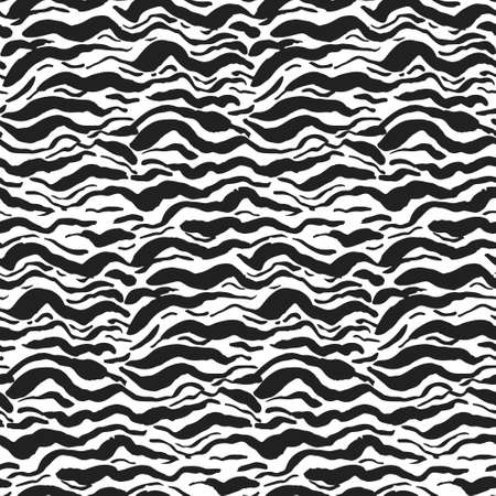 Grunge seamless pattern with black and white wavy sea brush strokes. Abstract monochrome marine wave lines texture for textile, wrapping paper, cover, surface, wallpaper, banner decor Vectores