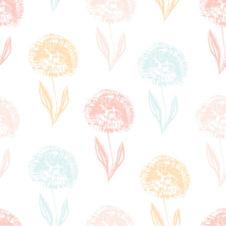 Cute light seamless pattern with textured hand drawn colorful dandelion flowers. Grunge sketch vector inky floral blossoms texture for textile, wrapping paper, cover, surface, wallpaper, banner decor
