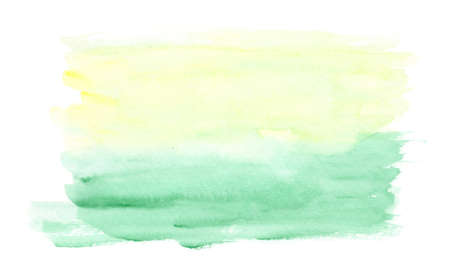 Light horizontal green and yellow watercolor landscape background, wash technique. Abstract bright sunny sky and green meadow watercolour textured concept, nature illustration Foto de archivo