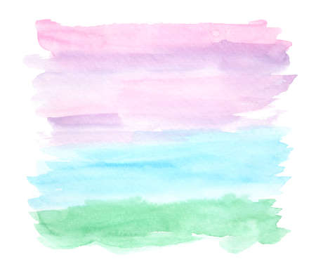 Bright horizontal green, blue, purple and pink watercolor landscape background, wash technique. Abstract violet sky and turquoise water watercolour textured concept, marine nature illustration
