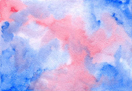 Abstract dark watercolor painting pink and blue cloudscape wet watercolor background, wash technique. Unique watercolour sky illustration for travel design, banner, greeting cards, surface