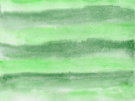 Bright expressive striped light and dark green gradient wet watercolor texture background, wash technique. Modern nature creative illustration for decoration, abstract forest concept