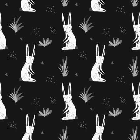 Cute monochrome dark seamless pattern with white cartoon rabbits, gray grass and dots. Funny hand drawn texture with hare and herbs for kids design, wallpaper, textile, wrapping paper Vectores