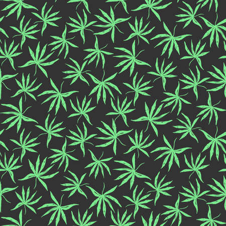 Dark black seamless pattern with hand drawn green inky tropical palm leaves. Contrast weed floral elements texture for textile, wrapping paper, cover, surface, wallpaper